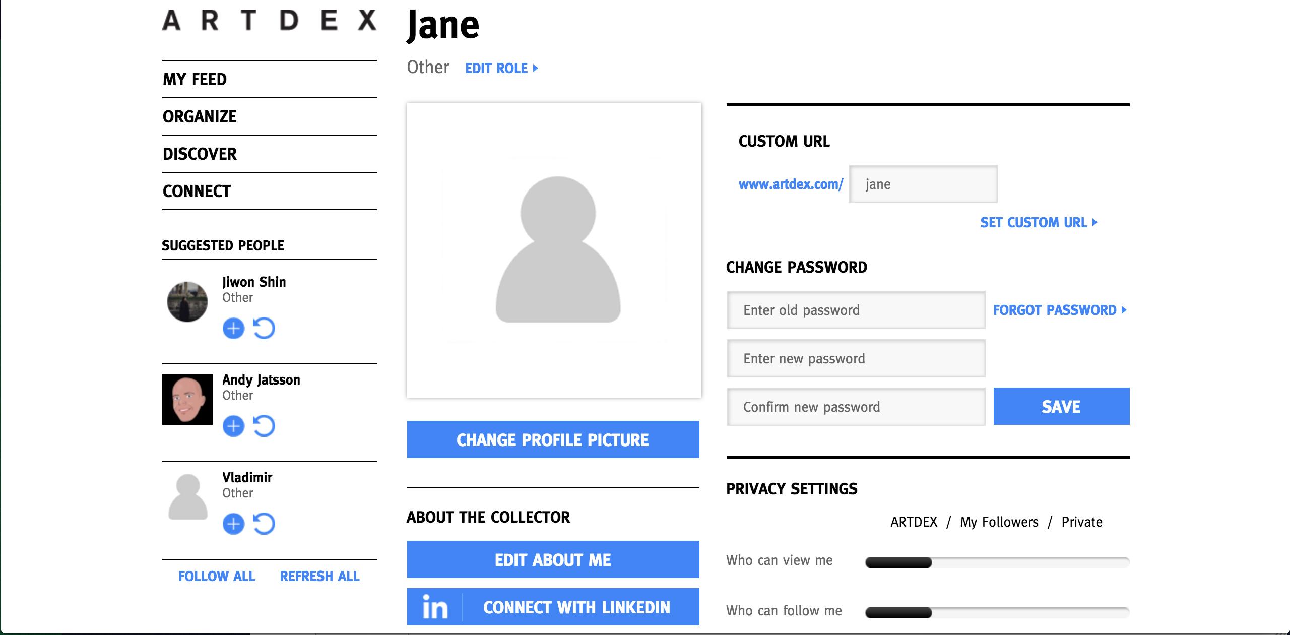 Setting up your ARTDEX profile