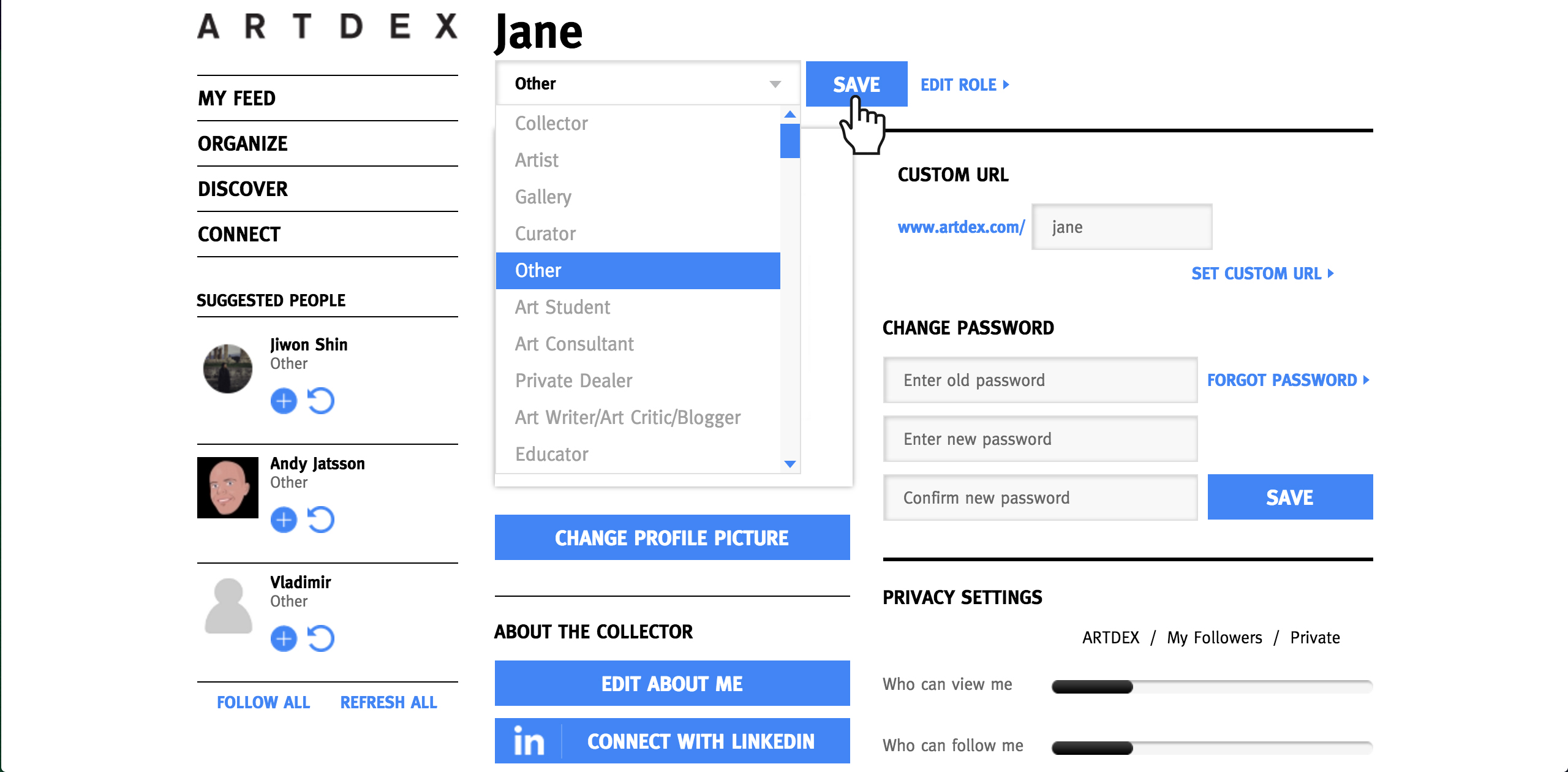 Editing Your ARTDEX Role