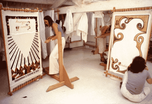 Judy Chicago at work in the studio on The Dinner Party