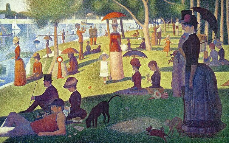 Georges-Pierre Seurat, A Sunday Afternoon on the Island of La Grande Jatte (1884), collection of the Art Institute of Chicago. | Image source: commons.wikimedia.org