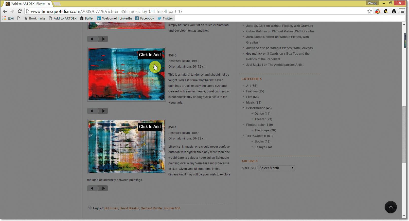 Add to ARTDEX bookmarklet