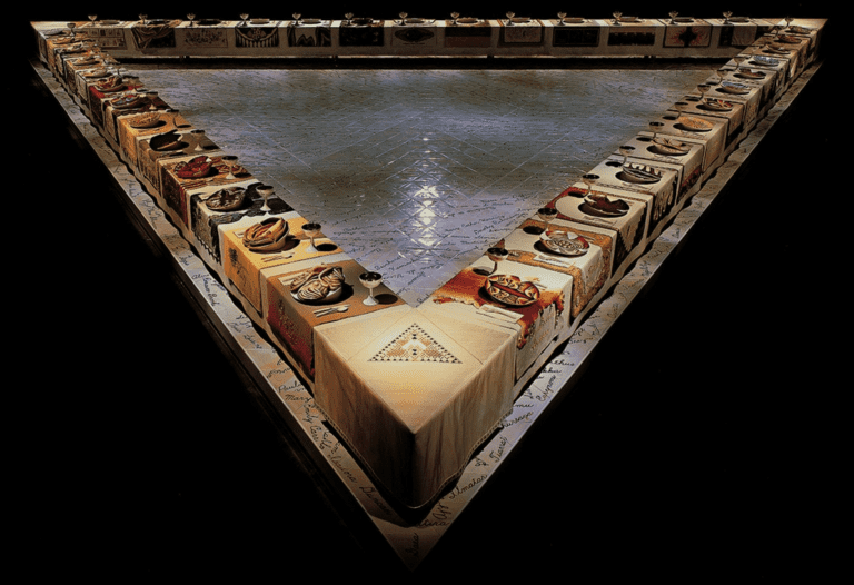 The Dinner Party installation art by Judy Chicago | Image source: thingsmag.us