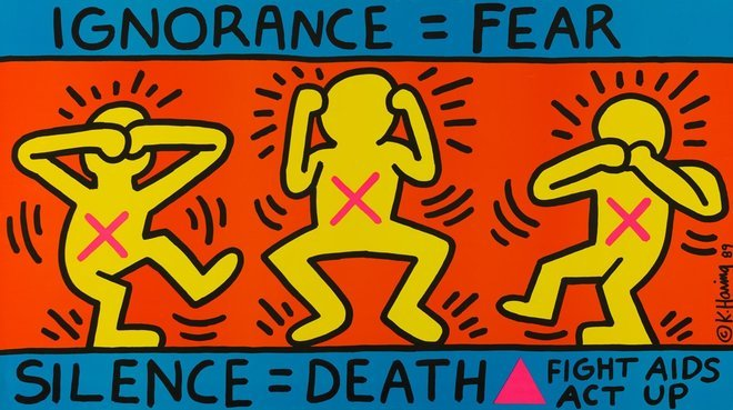 """Keith Haring """"Ignorance = Fear"""", 1989 