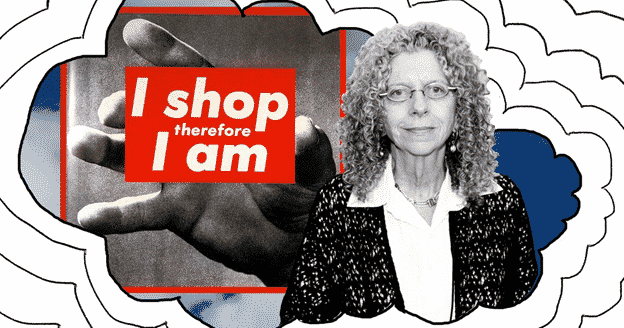 """Barbara Kruger and her artwork """"I shop therefore I am."""" Photo: Getty Images 